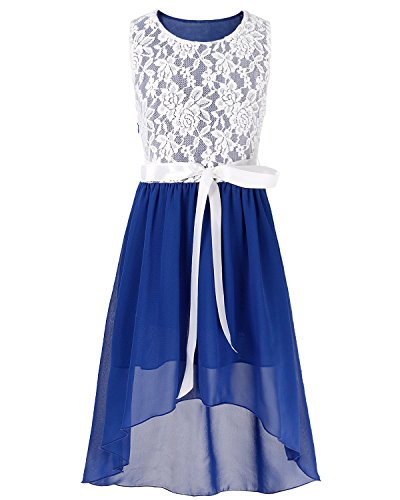 FEESHOW Kids Big Girls Lace Flower High Low Chiffon Bridesmaid Dress Dance Party Blue 14
