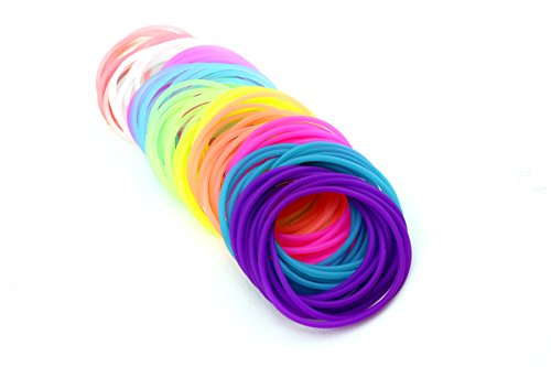 Adorox 50 Pack Silicone Jelly Bracelets Hair Ties Rainbow Colors Party Favors Birthday Gifts Prizes Assorted (50) -