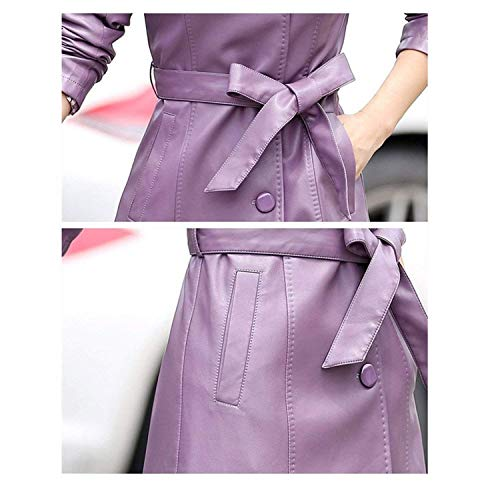 - Toping Fine Fashion Women's Long Jacket Single Breasted Belt Faux Leather Trench Coats,US:L(Tagsize:XXXL),Purple