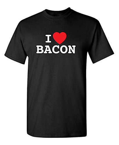 I Love Bacon Lover Heart Food Novelty Sarcastic Funny T Shirt XL Black ()