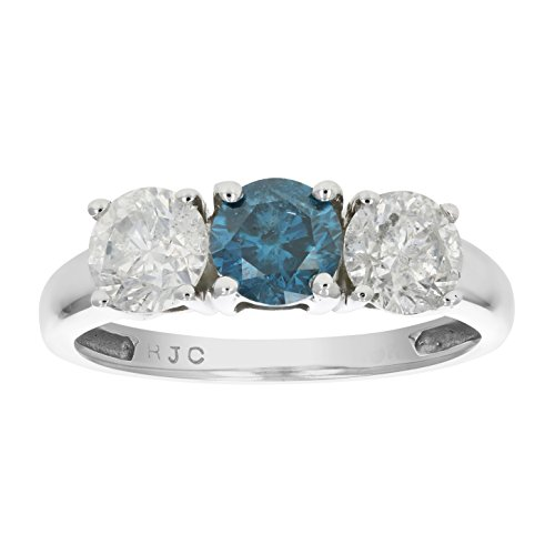 1 CT 3 Stone Blue & White Diamond Ring 14K White Gold In Size 7 (Available In Sizes 5 – 10)