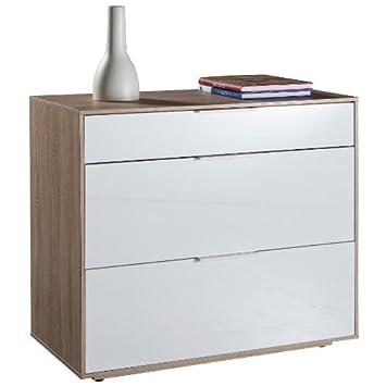Kommode mit 3 Eiche Farbige Schubladen und weiß Lack: Amazon.de ...
