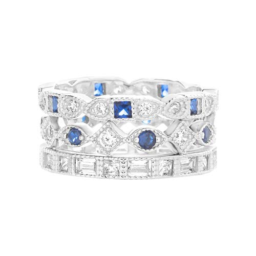 Inspired by You Round and Square Bead Set Simulated Blue Sapphire and Cubic Zirconia Antique Style Eternity Band 3pc Bridal Ring Set for Women in Rhodium Plated 925 Sterling Silver (Size 7)