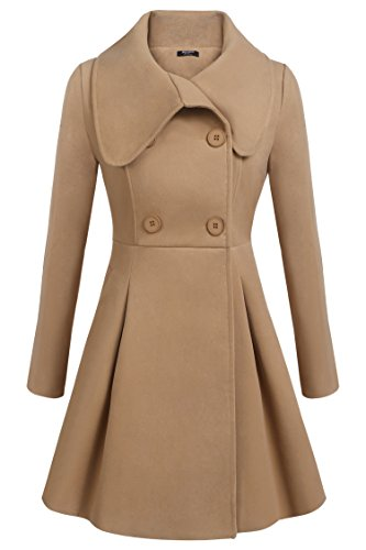 Zeagoo Women Double Breasted Trench Coat Mid-Long Long Sleeve Casual Dresses Style Outwear