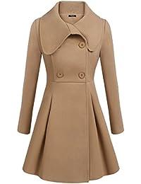 Women Lapel Single Breasted Wool Overcoat Long Swing Coat Jacket