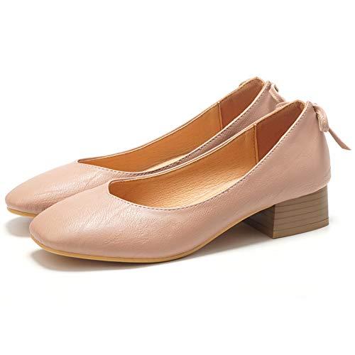 FLYRCX Primavera y otoño con Zapatos Zapatos de Trabajo de Boca Baja de señoras Zapatos Retro señoras B