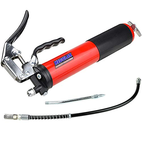 AcPulse Red Heavy Duty Deluxe Pistol Grease Gun with 18inch Flex Hose 6000 PSI-Lubricate Tractors RVs Cars Suspension Tie Rods Chassis and Drive Shafts