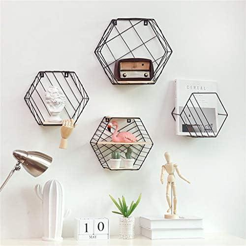 植物スタンド花スタンド 鍛造壁壁収納ボックス六角形の幾何学的な本棚の寝室の装飾