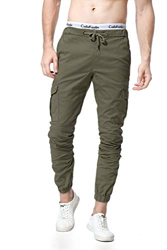 WESIDOM Men's Cargo Pants Jogger Jeans Combat Elasticated Waist Casual Trouser Outdoor Hiking Sweatpants