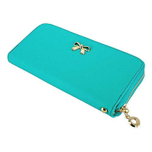 (GEARONIC TM Women Wallet Long Clutch Faux Leather Card Holder Fashion Hand Purse Lady Woman Handbag Bag Light Blue )