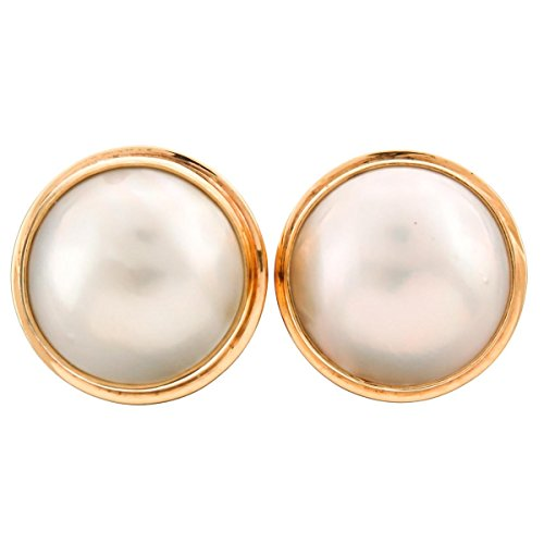 Gold Plated 925 Sterling Silver South Pacific White Mabe Cultured Pearl Clip-On -