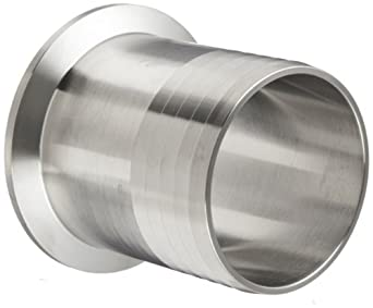 """Parker Sanitary Tube Fitting, Stainless Steel 304, Rubber Hose Adapter, 2"""" Tube OD x 2"""" Hose ID"""