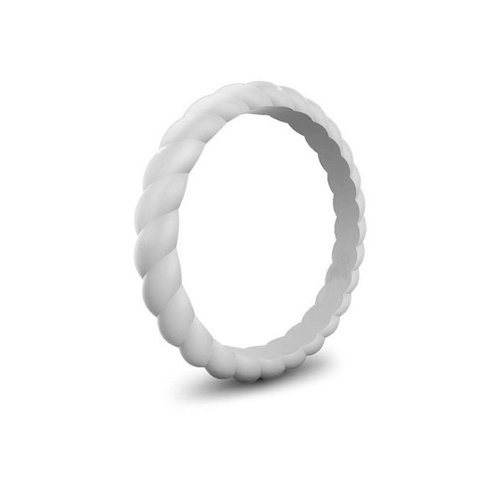 Eco Friendly Wedding Ring HuangTai Womens Twist Silicone Ring Delicate Silicone Ring 3 mm Wide