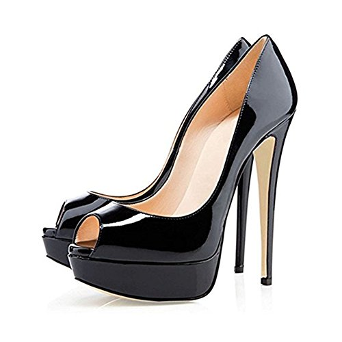 Platform Slip Women's Peep Stiletto on for Party Heel Pump MIUINCY High Dress Wedding Toe Black1 Shoes wxUnqX1qg