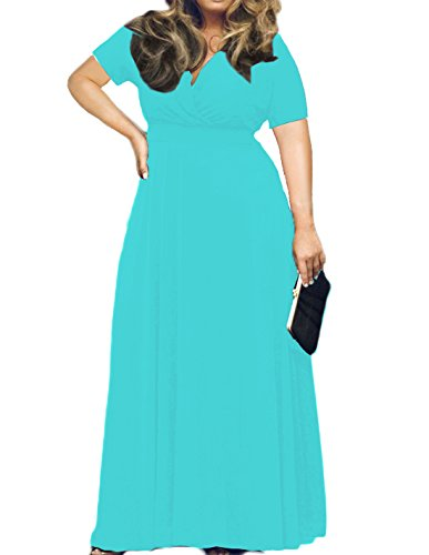 POSESHE Women's Plus Size Solid V-Neck Short Sleeve Evening Party Maxi Dress Nile Blue ()