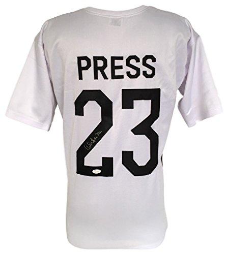 Christen Press Signed Custom White Olympic Soccer Jersey JSA