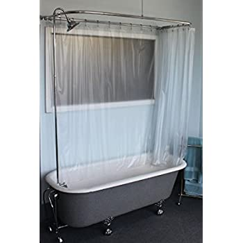 showering in a clawfoot tub. Clawfoot Tub RX2300J JUMBO Add A Shower Includes 60  D R2200A Faucet and Rectangular Combo Set