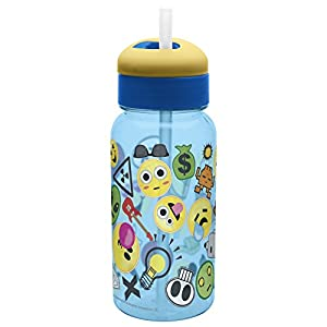 Zak Designs Zak! Designs Emojination Emoji Variety on This Reusable Water Bottle with Flip Out Silicone Straw, 14 oz., Decorated