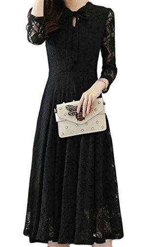 Swing Dress Bow Tie Sleeve Lace Women's Party Black Pleated Long Jaycargogo TqIpawW