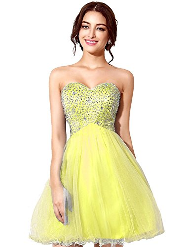 Sarahbridal Women's Sequins Backless 2019 Homecoming Dresses Short Tulle Prom Party Gowns Yellow US2