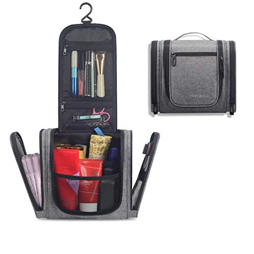 Hanging Travel Toiletry Bag for Men & Women - Toiletry Makeup Organizer Hanging Bags - Waterproof Cosmetic Bag with Sturdy Hook for Bathroom Shower