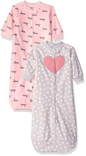 Carter's Baby Girls 2-Pack Microfleece Sleepbag, Pink/Grey Heart, Small (Girls Sleep Bag)
