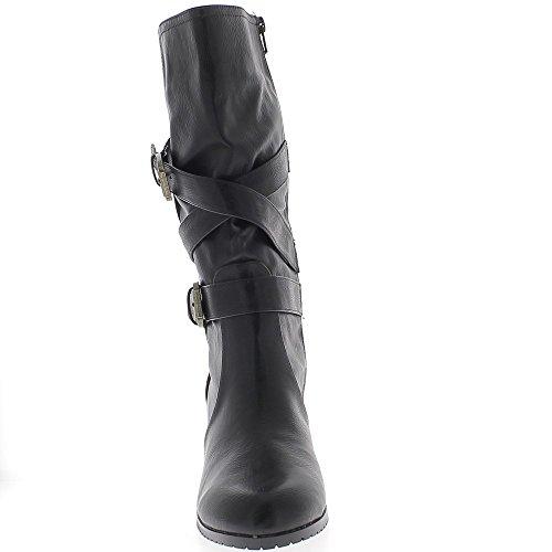 Bottines Femme Aspect à DE CM Noires ChaussMoi Cuir 9 Talon Doublées Grande Taille Z5Tqdf