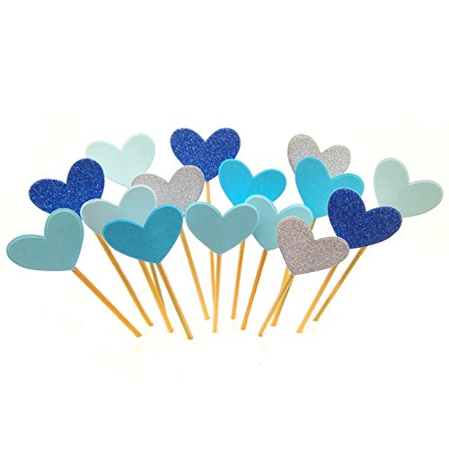 Cupcake Toppers 30Pcs Set, GUCUJI Funny Blue Heart DIY Glitter Mini Birthday Cake Snack Decorations Picks Suppliers Party Accessories for Wedding and Baby Shower