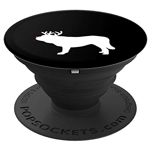 Saint Bernard Reindeer Christmas Dog Silhouette - PopSockets Grip and Stand for Phones and Tablets