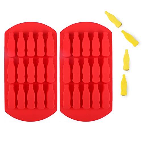 Fewo 2 Pack Coca Cola Glass Bottle Ice Cube Tray, Coke Cola Silicone Mold for Chocolate Candy Gummy Ice Cube Jello Jelly Cake Mini Soap Wax Crayon Melt