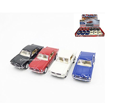 BRAND NEW DIECAST 1:36 DISPLAY 1964 1/2 FORD MUSTANG HARDTOP SET OF 4 NO RETAIL BOX KT5351D BY KINSMART