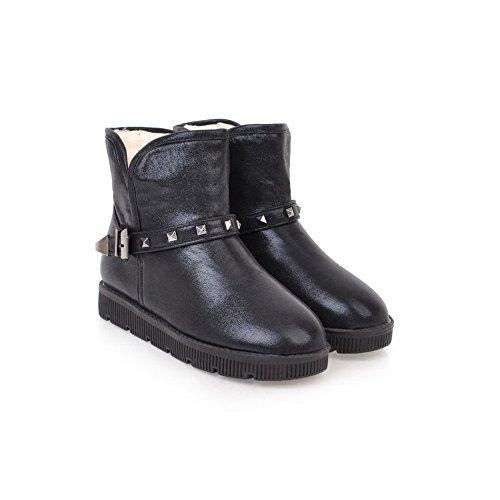 Botas De Nieve Para Mujer Balamasa Botas De Uretano Tachonado Con Hebillas Metálicas Abl10519 Negro