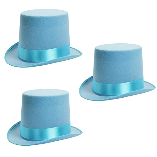 Costumes Dickens Era (Costume Top Hat - Victorian Costume Hat - Stovepipe Hats - Blue - 3 Pack by Funny Party Hats)