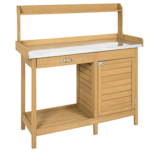(Best Choice Products Outdoor Garden Wooden Potting Bench Work Station w/Metal Tabletop, Cabinet - Natural)