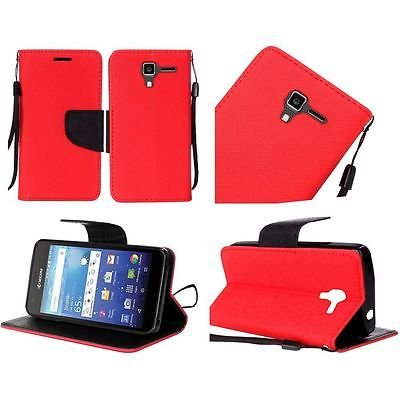 For Kyocera Hydro View PU Leather Flip Wallet Credit Card - Red -  EpicDealz