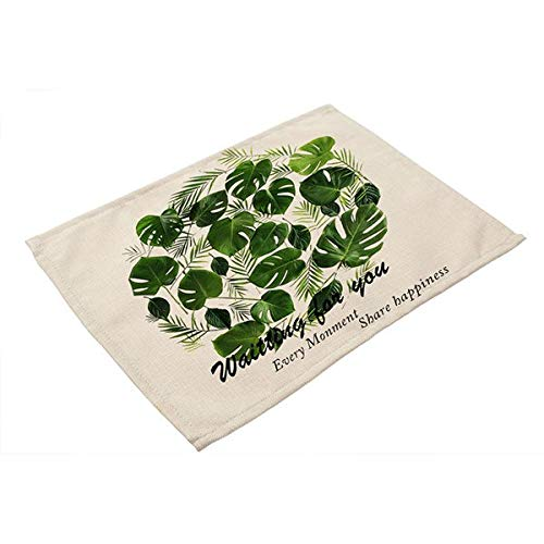 Mats & Pads - 42x32cm Green Leaves Pattern Cotton Linen Western Pad Placemat Insulation Dining Table Mat Bowls - Grip Hold Black Round Cloth Kitchen Toddlers Single Room Poker Resistant ()