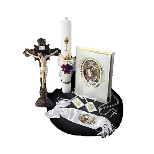 - English Handmade First Holy Communion Set for Boy Holy Table-Top Crucifix Crucifix Jesus on Cross, Candle, Bible, Illustrated Armband and Rosary -Religious Gift