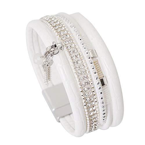 TILLY ANDERSON Elegant Women Leather Bracelet Clover Flower Tassel Crystal Bohemian Multilayer Wide Wrap Bracelets & Bangles Jewelry,White ()