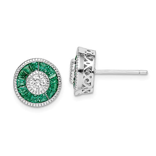 925 Sterling Silver Cubic Zirconia Cz Synthetic Green Spinel Post Stud Earrings Ball Button Fine Jewelry Gifts For Women For ()