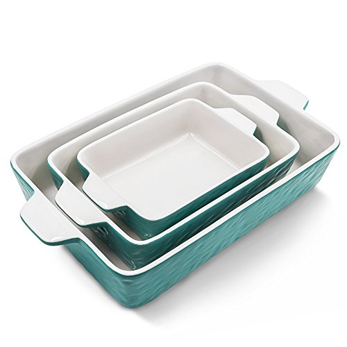 Bakeware Set, Krokori Rectangular Baking Pan Ceramic Glaze Baking Dish for Cooking, Kitchen, Cake Dinner, Banquet and Daily Use - Aquamarine, 3 Pack of Rectangular by Krokori (Image #9)