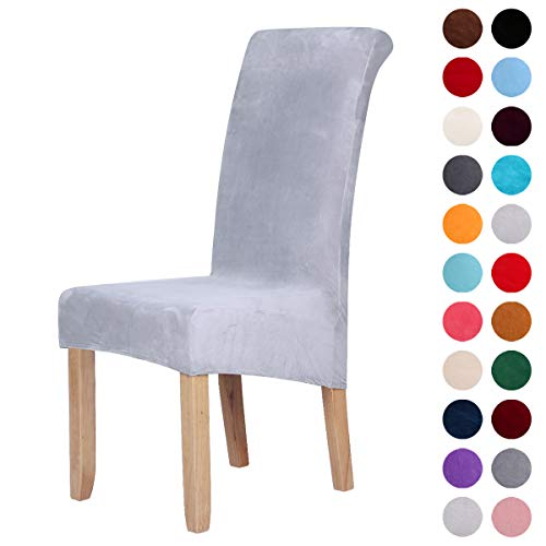 Velvet Stretch Dining Chair Slipcovers - Spandex Plush Short Chair Covers Solid Large Dining Room Chair Protector Home Decor Set of 2, Light Gray
