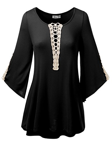 SJSP Womens Long Sleeven Lace Point Loose Fit Tunic Top Plus Size Black 3XL