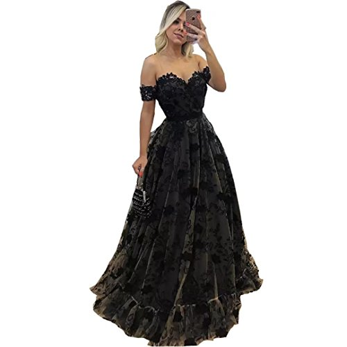 Chady Sholder Black Lace Prom Dresses 2017 Ball Gown Sexy Back Zipper Formal Paty Long Evening Dresses by Chady