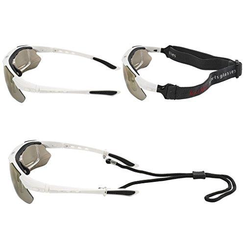 KT-SUPPLY UV-Schutz Radbrille Mit 5 Austauschbaren Polarisierten Gläsern schwarz-blau nggC9B