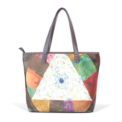 COOSUN Womens Bunte Geometrie Pu Leder Große Einkaufstasche Griff Umhängetasche