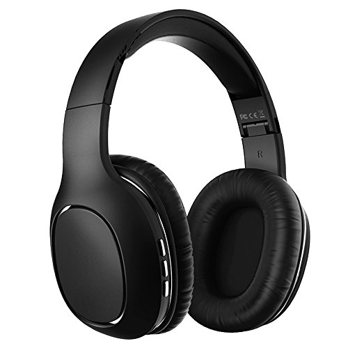 VanSaTa Wireless Headphones, Over Ear Bluetooth Headphones Hi-Fi Stereo Wireless Headset, Foldable, Soft Memory-Protein Earmuffs, Built-in Mic and Wired/TF Mode for PC/Cell Phones/tablets/TV, Black