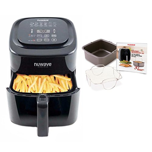 Nuwave 6 qt Brio Air Fryer with Accessory Kit, rever. rack, baking pan, 30 recipes Review