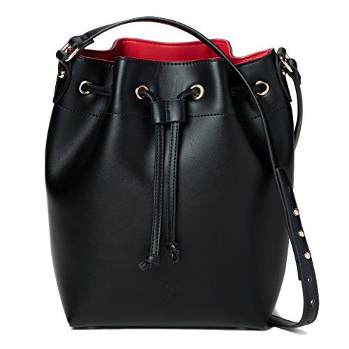 Black Bucket Bag - Marsi Bond Trendy Vegan Faux Leather Jane Fashion Bucket Bag (Black)