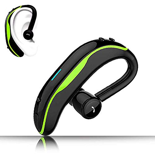 SLUB True Wireless Bluetooth Single Earbud with Microphone 17-18 Hours Playtime Noise Cancelling  Waterproof Ear-Hook Sport Headset for  Cell Phone(Green)