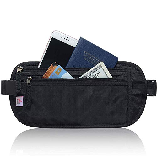 RFID Blocking Travel Wallet - Money Belt & Passport Holder for Women Men - Black